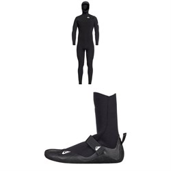 Quiksilver 5/4/3 Syncro Chest Zip GBS Hooded Wetsuit + Syncro 5mm Round Toe Wetsuit Boots