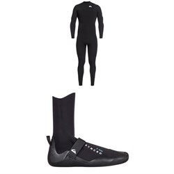 Quiksilver 4​/3 Syncro Chest Zip GBS Wetsuit ​+ Syncro 3mm Round Toe Wetsuit Boots