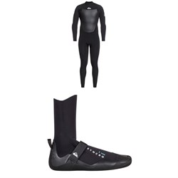 Quiksilver 4/3 Syncro Back Zip GBS Wetsuit + Syncro 3mm Round Toe Wetsuit Boots