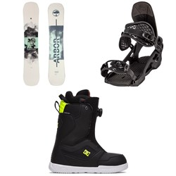 Arbor Draft Camber Snowboard + Spruce Snowboard Bindings + DC Scout Boa Snowboard Boots 2021