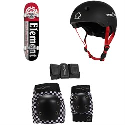 Element Section 7.75 Skateboard Complete ​+ Pro-Tec Jr. Classic Fit Certified Skateboard Helmet - Kids' ​+ Street Gear Junior Skateboard Pads - Kids'