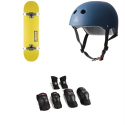 Globe Goodstock Skateboard Complete ​+ Triple 8 The Certified Sweatsaver Skateboard Helmet ​+ Saver Series High Impact Skateboard Pad Set