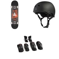Globe G1 Fairweather Skateboard Complete + Triple 8 Sweatsaver Liner Skateboard Helmet + Saver Series High Impact Skateboard Pad Set