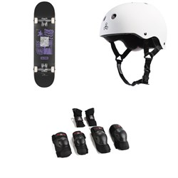 Globe G1 Fairweather Skateboard Complete ​+ Triple 8 Sweatsaver Liner Skateboard Helmet ​+ Saver Series High Impact Skateboard JR Pad Set