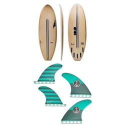 Solid Surf Co Lunch Break Surfboard ​+ Captain Fin CF Medium Single Tab Quad Fin Set