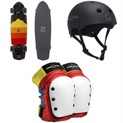 Arbor Pocket Rocket Artist Cruiser Skateboard Complete + Pro-Tec The Classic Certified EPS Skateboard Helmet + Street Skateboard Knee Pads