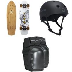 Arbor Pocket Rocket Bamboo Cruiser Skateboard Complete + Pro-Tec The Classic Certified EPS Skateboard Helmet + Street Skateboard Knee Pads