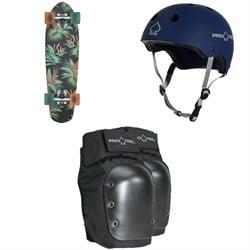 Globe Blazer Cruiser Complete + Pro-Tec The Classic Certified EPS Skateboard Helmet + Street Skateboard Knee Pads