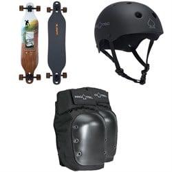Arbor Axis Photo Longboard Complete + Pro-Tec The Classic Certified EPS Skateboard Helmet + Street Skateboard Knee Pads
