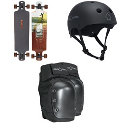 Arbor Dropcruiser Photo Longboard Complete + Pro-Tec The Classic Certified EPS Skateboard Helmet + Street Skateboard Knee Pads
