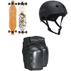 Arbor Axis Bamboo Longboard Complete ​+ Pro-Tec The Classic Certified EPS Skateboard Helmet ​+ Street Skateboard Knee Pads