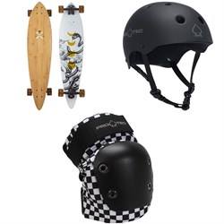 Arbor Fish Bamboo Longboard Complete + Pro-Tec The Classic Certified EPS Skateboard Helmet + Street Skateboard Knee Pads
