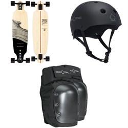 Sector 9 Shacked Shoots Longboard Complete + Pro-Tec The Classic Certified EPS Skateboard Helmet + Street Skateboard Knee Pads
