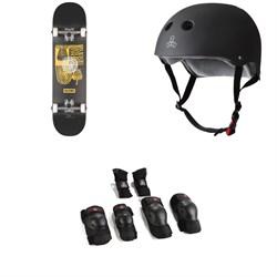 Globe G1 Fairweather Skateboard Complete + Triple 8 The Certified Sweatsaver Skateboard Helmet + Saver Series High Impact Skateboard Pad Set