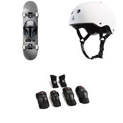 Element Star Wars Beskar 7.75 Skateboard Complete + Triple 8 Sweatsaver Liner Skateboard Helmet + Saver Series High Impact Jr Skateboard Pad Set