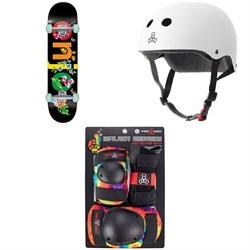 Enjoi Flowers Resin Premium 8.0 Skateboard Complete + Triple 8 The Certified Sweatsaver Skateboard Helmet + Saver Series Color Collection Skateboard Pad Set