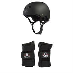 Triple 8 Sweatsaver Liner Skateboard Helmet + Wristsaver Slide On Wrist Guards
