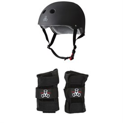 Triple 8 The Certified Sweatsaver Skateboard Helmet ​+ Wristsaver Slide On Wrist Guards