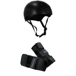 Pro-Tec Classic Skate Skateboard Helmet + Street Skateboard Wrist Pads