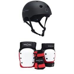 Pro-Tec The Classic Certified EPS Skateboard Helmet + Street Gear Junior Open Back Skateboard Pads