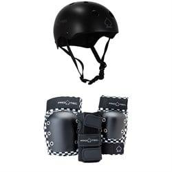 Pro-Tec Classic Skate Skateboard Helmet + Street Gear Junior Open Back Skateboard Pads