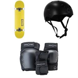 Globe Goodstock Skateboard Complete + Pro-Tec Classic Skate Skateboard Helmet + Pro-Tec Street Gear Junior Open Back Skateboard Pads