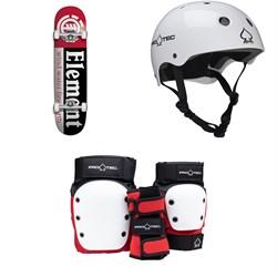 Element Section 7.75 Skateboard Complete + Pro-Tec Classic Skate Skateboard Helmet + Pro-Tec Street Gear Junior Open Back Skateboard Pads
