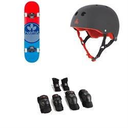 Habitat Leaf Dot Blue Complete 7.75 Skateboard Complete + Triple 8 Sweatsaver Liner Skateboard Helmet + Triple 8 Saver Series High Impact Skateboard Pad Set