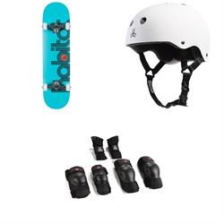 Habitat Ellipse Blue Complete 8.0 Skateboard Complete + Triple 8 Sweatsaver Liner Skateboard Helmet + Triple 8 Saver Series High Impact Skateboard Pad Set