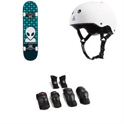 Alien Workshop Matrix Blue Complete 7.75 Skateboard Complete + Triple 8 Sweatsaver Liner Skateboard Helmet + Triple 8 Saver Series High Impact Skateboard Pad Set