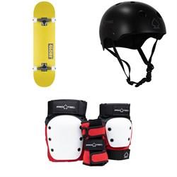 Globe Goodstock Skateboard Complete + Pro-Tec Classic Skate Skateboard Helmet + Street Gear Junior Skateboard Pads