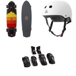 Arbor Pocket Rocket Artist Cruiser Skateboard Complete + Triple 8 The Certified Sweatsaver Skateboard Helmet + Saver Series High Impact Skateboard Pad Set