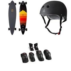 Arbor Fish Artist Draplin Longboard Complete + Triple 8 The Certified Sweatsaver Skateboard Helmet + Saver Series High Impact Pad Set