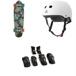 Globe Blazer Cruiser Complete + Triple 8 The Certified Sweatsaver Skateboard Helmet + Saver Series High Impact Skateboard Pad Set