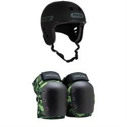 Pro-Tec Full Cut Certified Skateboard Helmet + Street Open Back Skateboard Knee Pads