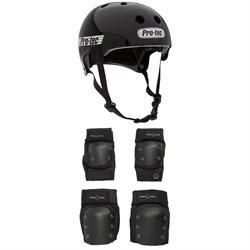 Pro-Tec Old School Certified Skateboard Helmet + Knee & Elbow Skateboard Pad Set