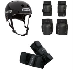Pro-Tec Old School Certified Skateboard Helmet + Knee & Elbow Skateboard Pad Set + Street Skateboard Wrist Pads
