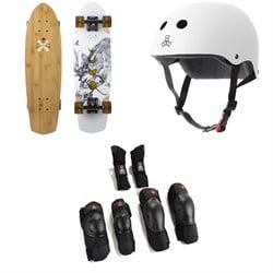 Arbor Pocket Rocket Bamboo Cruiser Skateboard Complete + Triple 8 The Certified Sweatsaver Skateboard Helmet + Saver Series High Impact Skateboard Pad Set