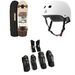 Arbor Pilsner Photo Cruiser Skateboard Complete + Triple 8 The Certified Sweatsaver Skateboard Helmet + Saver Series High Impact 3 Pack Skateboard Pad Set