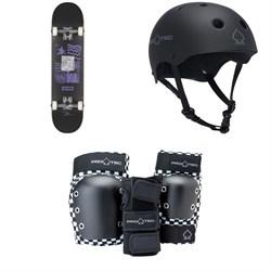 Globe G1 Fairweather Skateboard Complete + Pro-Tec The Classic Certified EPS Skateboard Helmet + Street Gear Junior Open Back Skateboard Pads
