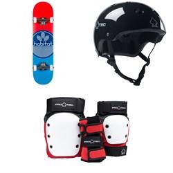 Habitat Leaf Dot Blue Complete 7.75 Skateboard Complete + Pro-Tec The Classic Certified EPS Skateboard Helmet + Street Gear Junior Open Back Skateboard Pads