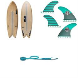Solid Surf Co Throwback Surfboard + Captain Fin CF Medium Single Tab Quad Fin Set + Dakine Kainui Team 6' Leash