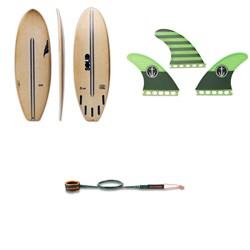 Solid Surf Co Lunch Break Surfboard + Captain Fin CF Medium Single Tab Tri Fin Set + Dakine Kainui Team 6' Leash