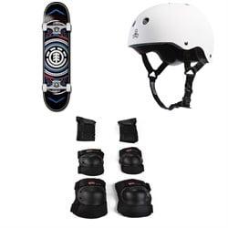 Element Hatched Red Blue 7.75 Skateboard Complete + Triple 8 Sweatsaver Liner Skateboard Helmet + Little Tricky Jr. 3 Pack Skateboard Pad Set