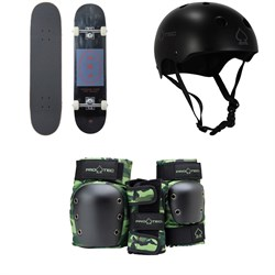 Arbor Whiskey 7.75 Recruit Skateboard Complete + Pro-Tec Classic Skate Skateboard Helmet + Street Gear Junior Open Back Skateboard Pads