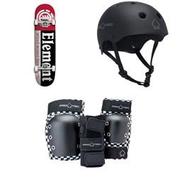 Element Section 7.75 Skateboard Complete + Pro-Tec The Classic Certified EPS Skateboard Helmet + Street Gear Junior Open Back Skateboard Pads