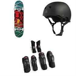 Element Volcanic 7.75 Skateboard Complete + Triple 8 Sweatsaver Liner Skateboard Helmet + Saver Series High Impact 3 Pack Skateboard Pad Set