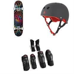 Element Solar Vibes 7.75 Skateboard Complete + Triple 8 Sweatsaver Liner Skateboard Helmet + Saver Series High Impact 3 Pack Skateboard Pad Set