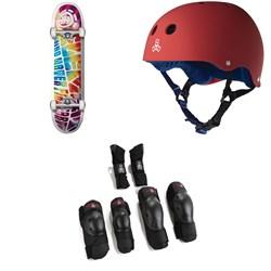 Element Trip Out 7.75 Skateboard Complete + Triple 8 Sweatsaver Liner Skateboard Helmet + Saver Series High Impact 3 Pack Skateboard Pad Set