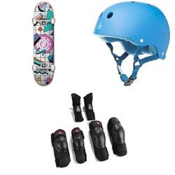 Element Off The Charts 7.75 Skateboard Complete + Triple 8 Sweatsaver Liner Skateboard Helmet + Saver Series High Impact 3 Pack Skateboard Pad Set